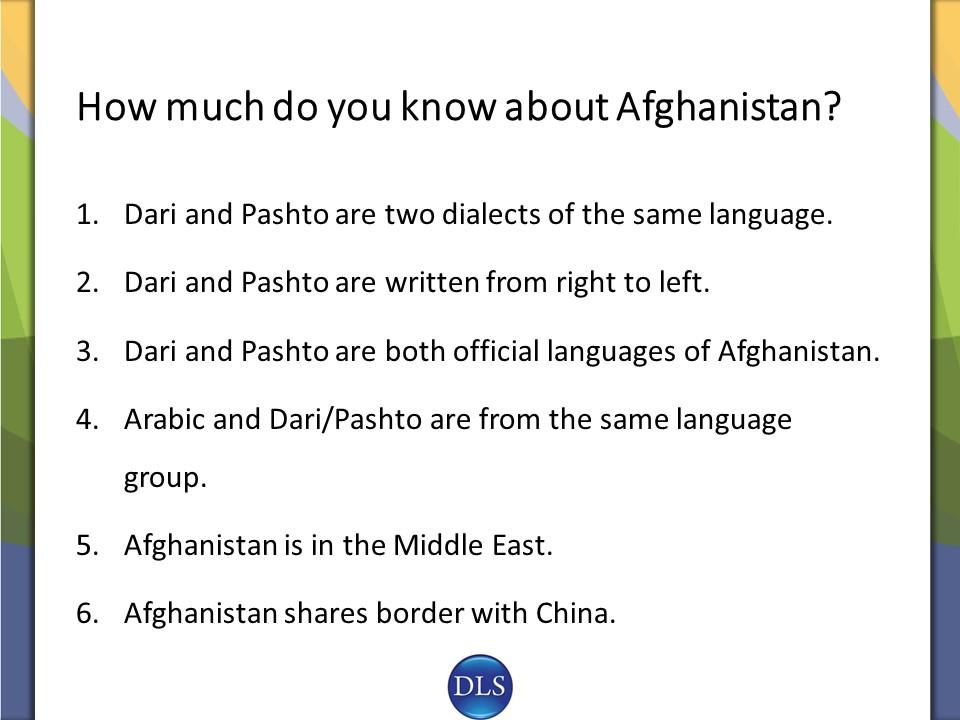 Crash Course: Afghanistan's Languages and Culture | DLS