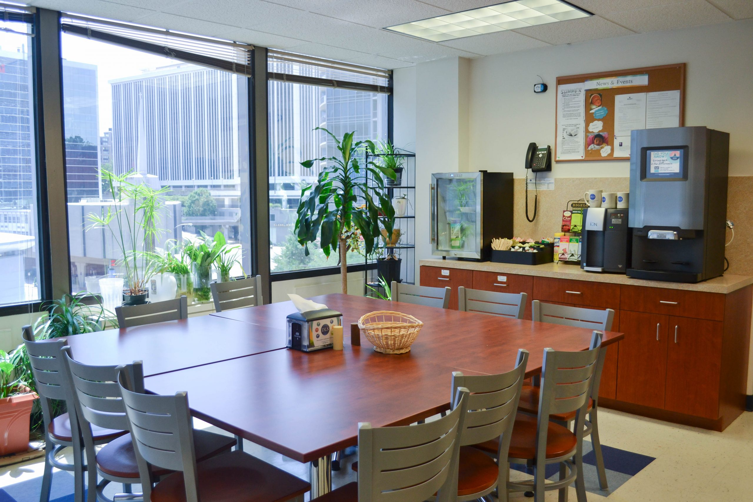 Diplomatic Language Services Arlington location kitchen and dining area