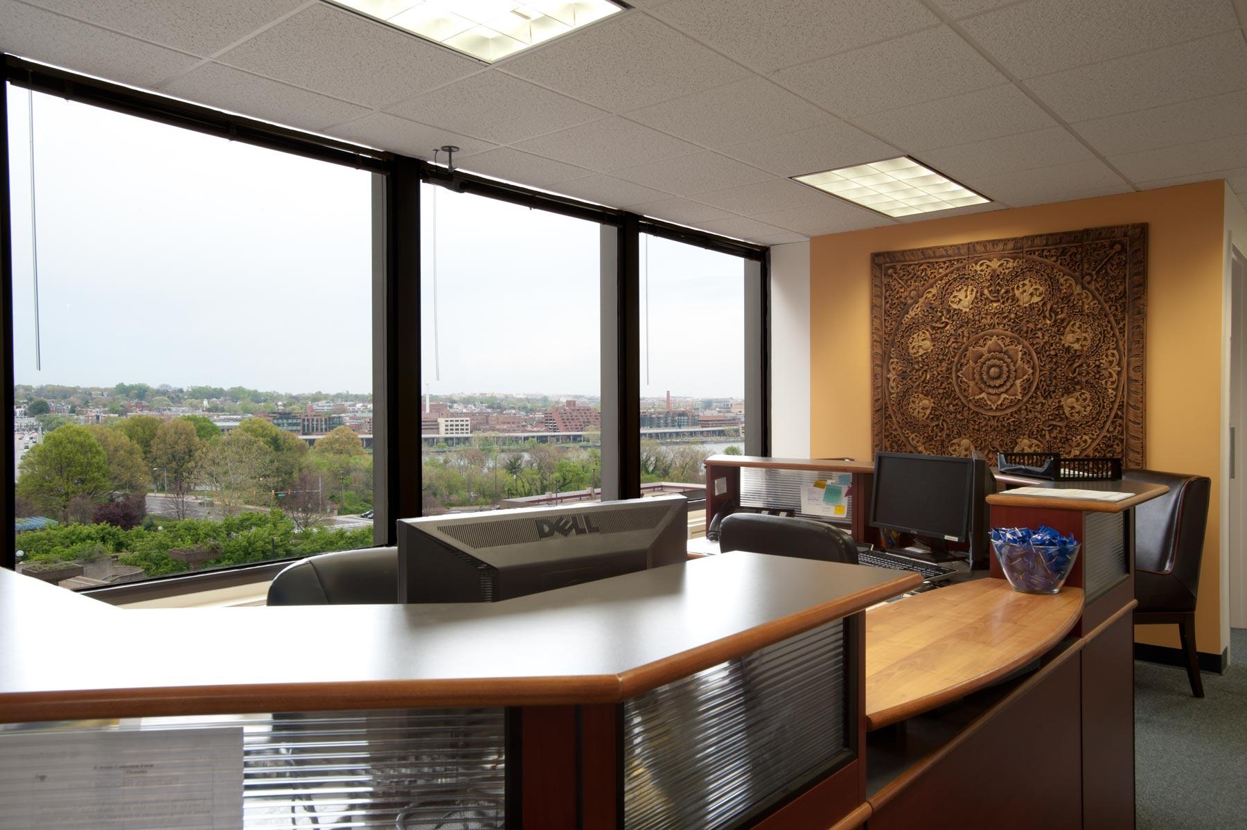 Diplomatic Language Services Arlington location front desk and reception area