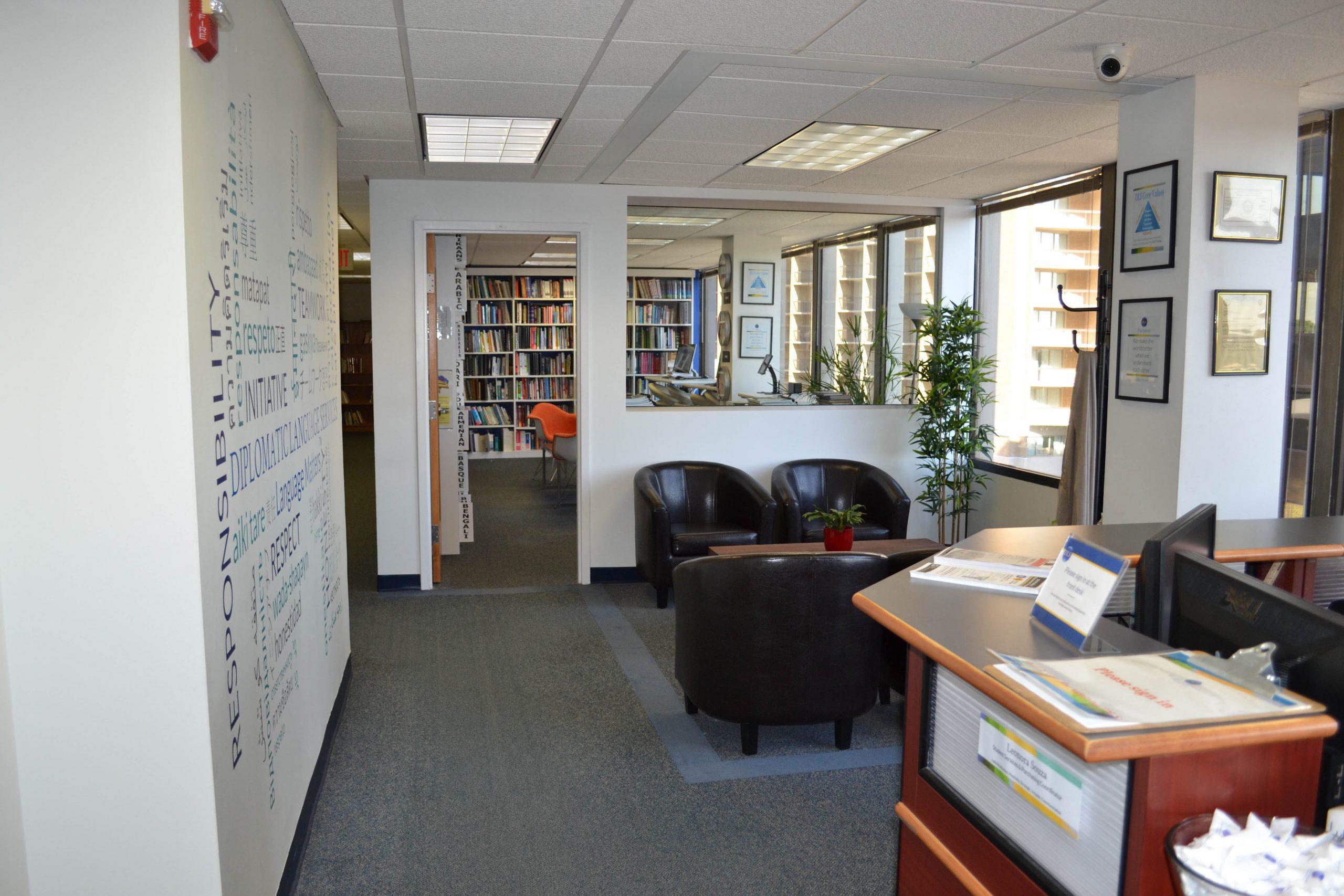 Diplomatic Language Services Arlington location lobby and waiting area