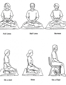 Meditation postures for use during Diplomatic Language Services Wellness Series on mindfulness and meditation